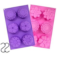 Silicone Flower Soap Mold 6 cavity (2 Molds) | Silicone soap molds | Chrysanthemum Sunflower Mixed Flower shapes | Cupcake Backing mold | Muffin pan | Candy mold | Handmade soap silicone Molds