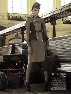 fashion editorials, shows, campaigns & more!: the passenger: olesya senchenko by joshua jordan for be august 2012 Military Inspired Fashion, Military Fashion, Jamie Chung, Punk Fashion, Fashion Show, Womens Fashion, Daily Fashion, Fashion Brands, Military Chic