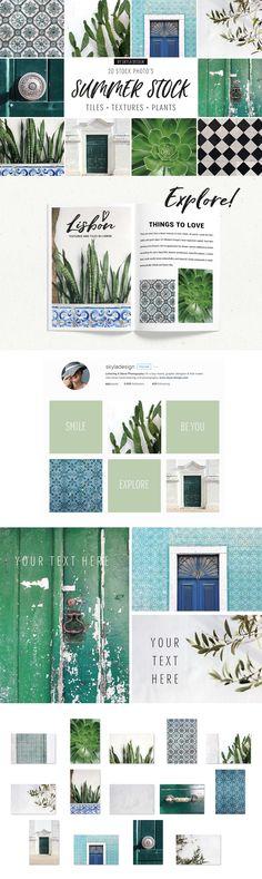 Summer stock, tiles, texture, plants by Skyla Design on @creativemarket