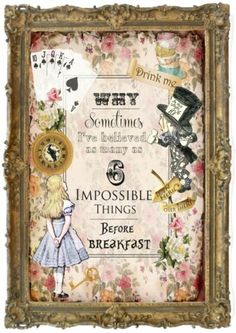 1 Vintage Alice in Wonderland Floral Quote Home,Gift.Decor,Party | eBay