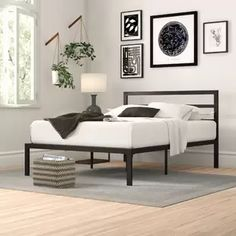 Modern Metal Platform Bed Frame Base with Headboard Mattress Foundation Bed Frame, Metal Platform Bed, Panel Bed, Headboard And Footboard, Adjustable Beds, Under Bed Storage, Bed, Furniture, Upholstered Panel Bed