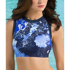 HAPARI Navy Eclipse Crop Tankini Top ($30) ❤ liked on Polyvore featuring swimwear, bikinis, bikini tops, crop swim top, tankini swim tops, navy bikini, navy bikini top and navy blue bikini