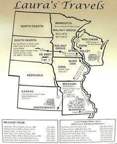 Laura Ingalls Wilder map of travels. Color the map or add to your unit study on Little House Series. Link at bottom of site.    #littlehouse  #lauraingallswilder  #homeschool
