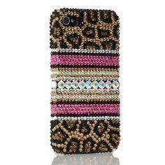 LEOPARD BLING 3d Handmade Swarovski Crystal & Rhinestone Animal Print Iphone 4 case/cover by Jersey Bling