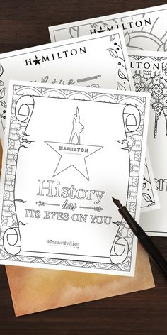 Download free printable coloring sheets featuring Hamilton musical quotes Lyrics from George Washington, the Schulyer Sisters, and more. The free printable activity pack contains seven pages of black and white coloring sheets (plus an additional full-color cover!) with beautiful, intricate designs surrounding quotes from the Broadway stage production of Hamilton by Lin Manuel Miranda. Use these worksheets as American History enrichment activities in the classroom or at home. Free Printable Coloring Sheets, Coloring Pages For Kids, Enrichment Activities, Party Activities, Hamilton Quotes, Hamilton Gifts, Printable Quotes, Printable Designs, George Washington Quotes