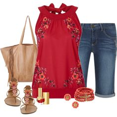 love the color of the top as well as the style.  I like the embroidered flowers on it
