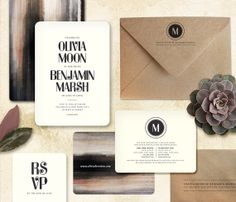Modern Wedding Invitation  MOONSHINE by oakandorchid on Etsy, $8.75