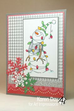 Lighted Snowman from Art Impressions ...Christmas card