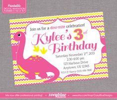 Girl dinosaur party invitations dinosaur birthday invitations girl dinosaur birthday party invitation pink yellow chevron zig zag stripes digital invite file by filmwisefo