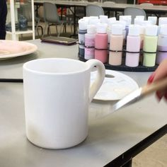 It's full swing in today's Paint a Pot session. Clay Paint, Mugs, Gallery, Tableware, Instagram Posts, Painting, Dinnerware, Roof Rack, Tumblers