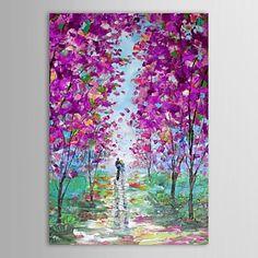 peinture à l'huile paysage couples romantiques avec toile peinte à la main sur canevas tendu – USD $ 53.99