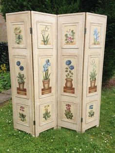 Image result for painted shabby chic wooden folding screens