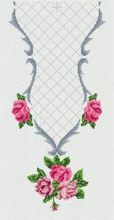 cross stitch neckline @ Afs Collection ltd. Cross Stitch Borders, Cross Stitch Rose, Cross Stitch Flowers, Modern Cross Stitch, Cross Stitch Designs, Cross Stitching, Cross Stitch Embroidery, Embroidery Patterns, Cross Stitch Patterns