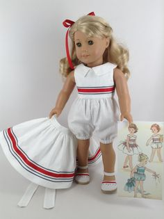 Handmade playsuit and skirt for American Girl and other similar 18-inch dolls. Dolly is modeling a one-piece, vine-patterned, white romper and