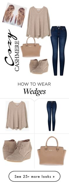 """Cozy Beige"" by kiraxoxo-love on Polyvore featuring 2LUV, TOMS, MANGO and Michael Kors"