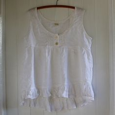 White Linen Camisole Size Large Tank Top by MegbyDesign on Etsy, $125.00
