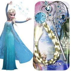 3 Pcs Disney Toys Frozen Princess Anna Elsa Braid Wigs Birthday Gifts Headdress Party Supplies Kids Christmas Toys for Children