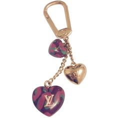Pre-owned Louis Vuitton Bag Charm ($233) ❤ liked on Polyvore featuring jewelry, pendants, purple, heart charm, purple jewelry, charm jewelry, louis vuitton and pre owned jewelry