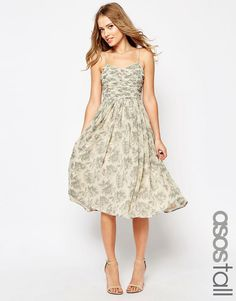 Image 1 ofASOS TALL Wedding Ruched Midi Dress in Print