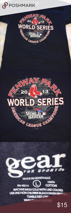 ⚾️GEAR LARGE 2013 RED SOX WORLD SERIES NAVY BLUE T GEAR LARGE 2013 RED SOX FENWAY PARK BASEBALL WORLD SERIES NAVY BLUE TEE. GREAT CONDITION. ALL NAVY ON BACK. GRAPHIC IS IN GREAT CONDITION. SIZE LARGE. MAKE AN OFFER. Gear Shirts Tees - Short Sleeve