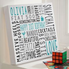 21st Birthday Gift For Her Personalised Square Word Art Canvas Print. Beautiful Personalised Word Art Gifts to Commemorate a Landmark Birthday. Easy to Create, Preview on Screen Before You Buy & Fast Free Delivery. Create Now…