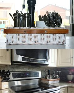A basket to organize your kitchen counter - Top 10 Awesome DIY Kitchen Organization Ideas