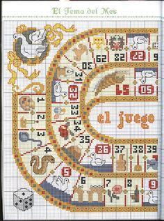 Jeu de l' Oie (1) Cross Stitch Games, Cross Stitch For Kids, Cross Stitch Alphabet, Cross Stitch Samplers, Cross Stitching, Embroidery Art, Cross Stitch Embroidery, Cross Stitch Patterns, Damier