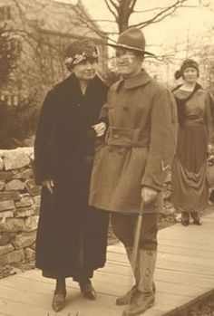 Helen Keller with a wounded soldier, 1919