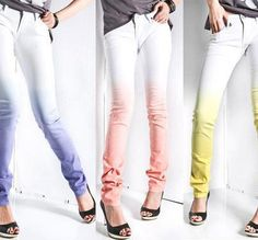 DIY Ombre Skinny Jeans these are so cute by lllllol Do It Yourself Mode, Do It Yourself Fashion, Fashion Mode, Diy Fashion, Fashion Trends, Petite Fashion, Curvy Fashion, Fashion Bloggers, Fall Fashion