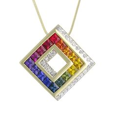 Rainbow Sapphire & Diamond 14 Karat Channel Set Pendant P2211 for about $1990