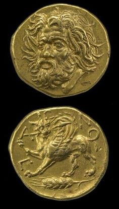 Gold coin, Greek, minted in Panticapaeum, Crimea, Ukraine.(obverse) Head of Pan. (reverse) Horned griffin with lion's head, holding lance in mouth; below, ear of barley. (via British Museum)