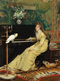 """the-garden-of-delights:    """"Woman at the piano with a Cockatoo"""" (c. 1870) by Gustave Léonard de Jonghe (1829-1893)."""
