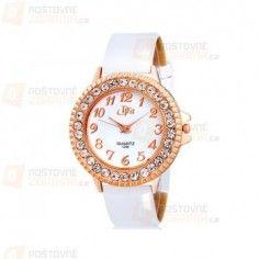 Dámské hodinky s ciferníkem vykládaným kamínky – bílé a poštovné ZDARMA! b71f6b4036