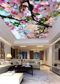 Custom Mural Wallpaper Non-Woven Ceiling Wall Paper HD Beautiful Flowers Photo Living Room Bedding Room Photo Wallpaper Romantic Living Room, Bed In Living Room, Elegant Living Room, Living Room Decor, Bedroom Decor, Wall Decor, Ceiling Design Living Room, False Ceiling Design, Living Room Designs