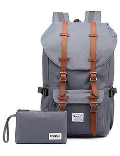 #KAUKKO Mode Backpack Herren Damen Rucksack fit für 17-Zoll Laptop Grau[2PCS]