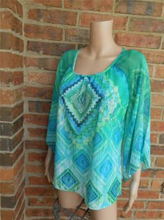 CHICO'S Embellished Top Sz 2 L 12/14 Pullover Blouse Shirt Flare Sleeve Made USA #Chicos #Blouse #Casual