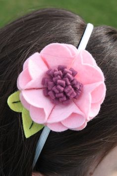 Felt Flower Headband - Pink and Berry Blossom - Handmade with Wool Blend Felt - 5mm metal headband or Elastic for Baby, Toddler or Adult on Etsy, $12.00