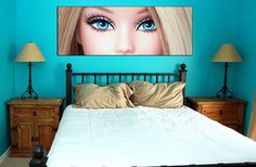 BARBIE face collectible poster wall art pink fashion doll