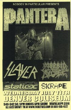 Morbid Angel & Static X. I saw this show in SD only time I've ever seen Slayer! Rock Concert, Tour Posters, Band Posters, Music Posters, Pantera Band, Nu Metal, Black Metal, Concert Flyer, Classic Rock