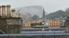 View of Arthur's seat from the roof of a tenement on Easter road, Edinburgh.