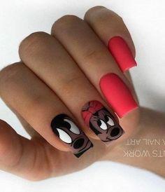 Cartoon Nail Designs, Nail Art Designs, Fun Nails, Pretty Nails, Disney World Nails, Disney Acrylic Nails, Mickey Nails, Kawaii Nail Art, Modern Nails