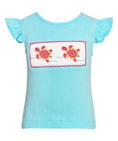 Blue Sea Turtle Angel-Sleeve Top - Toddler & Girls