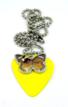 Yellow Guitar Pick Necklace Butterfly and by TheCraftyPandaGirl, $12.50