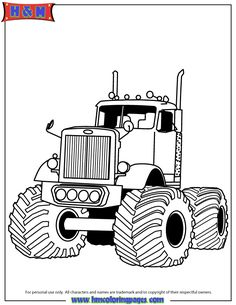 Big Rig Monster Truck For Boys Coloring Page