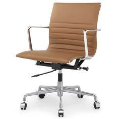Supple aniline leather perches perfectly on the slim-yet-sturdy base of our lithe M5 executive chair, delivering stylish impact to the boardroom and beyond. Ergonomic and lift/lounge features conform
