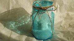 Frosted Blue Mason Jar Lantern Candle by BondurantMountainArt