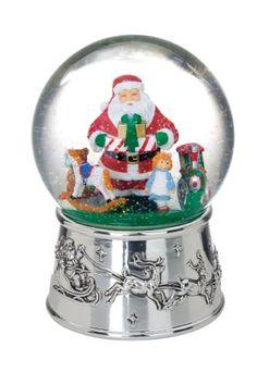 Reed & Barton Silver Plate Santa Toyland Snow Globe - http://www.christmasshack.com/snow-globes/reed-barton-silver-plate-santa-toyland-snow-globe/
