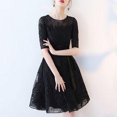 ドレス-ミニ・ミディアム 半袖 黒パーティードレス 結婚式 二次会 発表会 ワンピース(3)