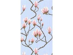 Large scale floral design pattern, Magnolia wallpaper features an Oriental interpretation of flowers from America's southern states in various pastel shades, including this pink on blue background (Magnolia - New Contemporary - Cole & Son) Plant Wallpaper, Wallpaper Roll, Stripped Wallpaper, Wallpaper Samples, Wallpaper Online, Magnolia Wallpaper, Cole Son, Magnolia Colors, Cole And Son Wallpaper