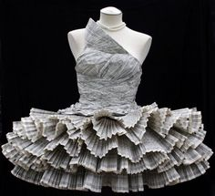 Absolutely gorgeous dress made from recyled phone books by Jolis Paons.